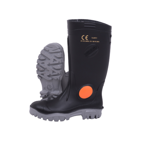 Neptun Shosholoza Black Grey Steel Toe Cap Gumboot
